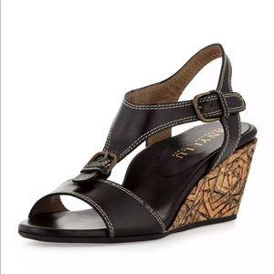 Anyi Lu New Buckle Black Wedge Sandals